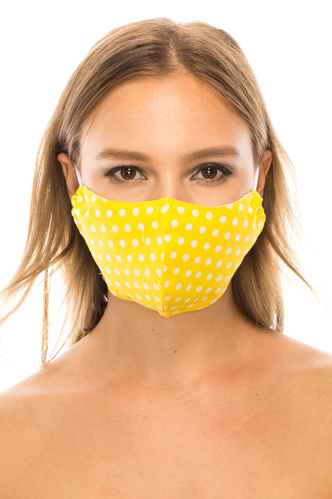 unik Face Mask,  Cotton Blend, 2 layers, Yellow Polka Dots, Washable, Reusable Mask, Adult Size