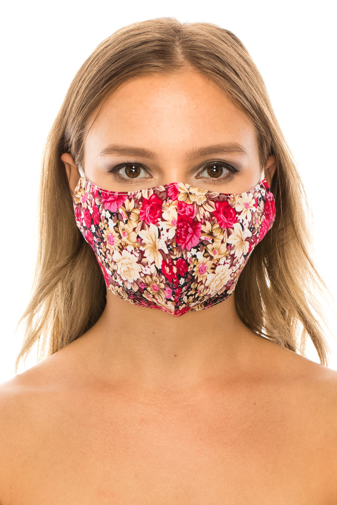 unik Face Mask, 100% Cotton, 2 layers, Brown Rose, Washable, Reusable Mask, Adult Size