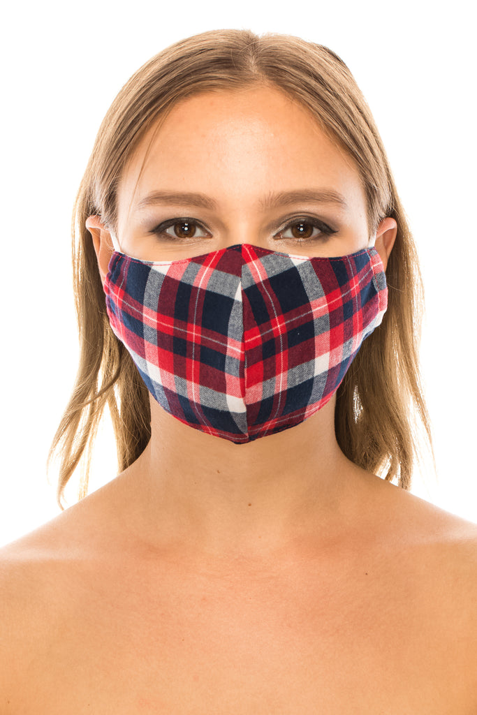 unik Face Mask, 100% Cotton, 2 layers, Tartan Red, Washable, Reusable Mask, Adult Size