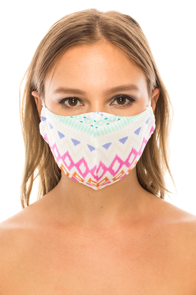 unik Face Mask, 100% Cotton, 2 layers, Designer Pattern, Pink Diamond, Washable, Reusable Mask, Adult Size