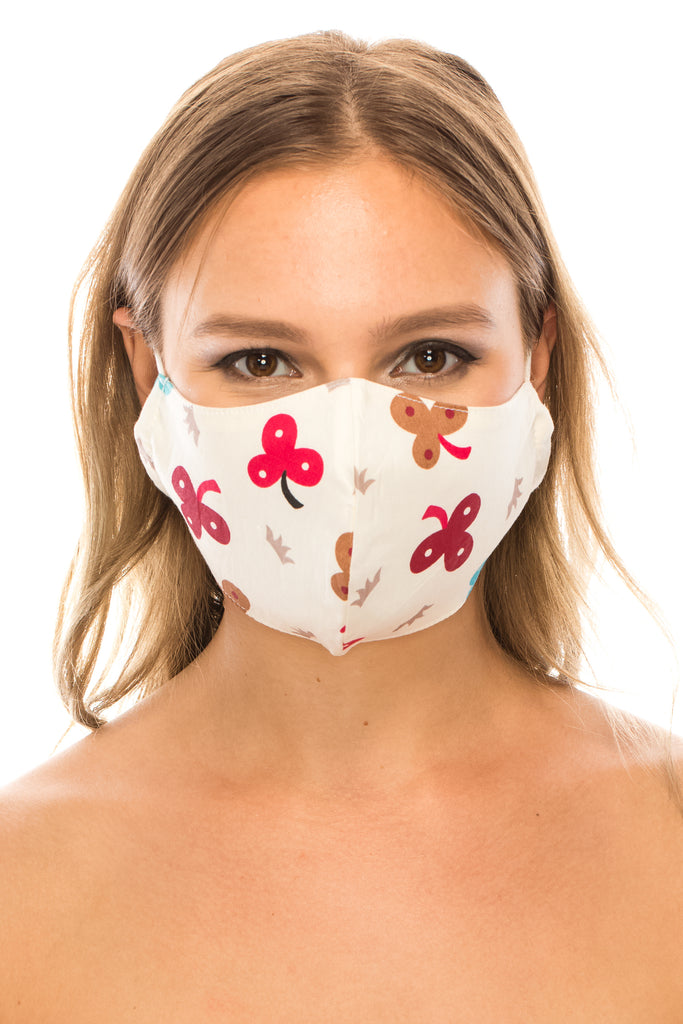 Face Mask, 100% Cotton, 2 layers, Clover, Washable, Reusable Mask, Adult Size