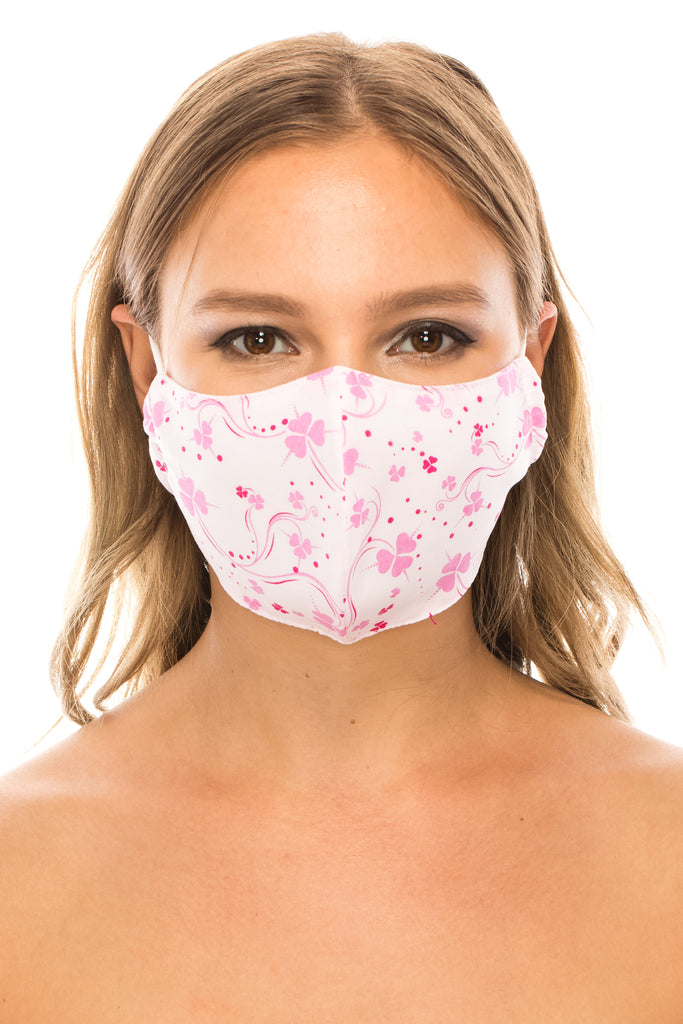 unik Face Mask, Cotton, 2 layers, Pink Clover, Washable, Reusable Mask, Adult Size