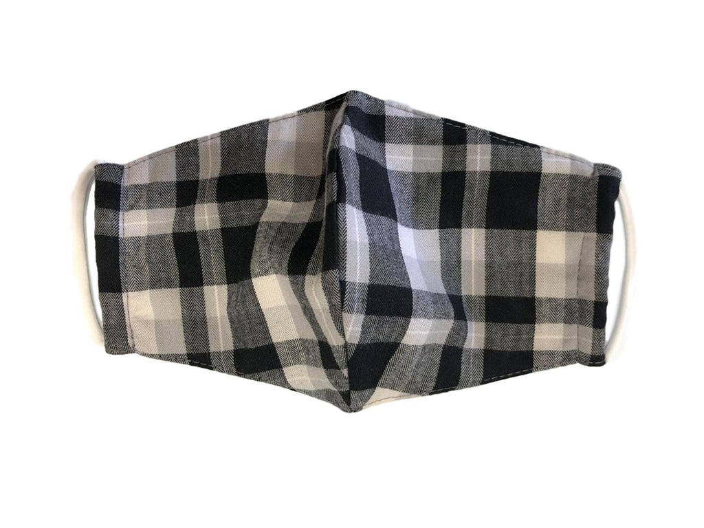 Face Mask, 100% Cotton, 2 layers, Tartan Black, Washable, Reusable Mask, Adult Size