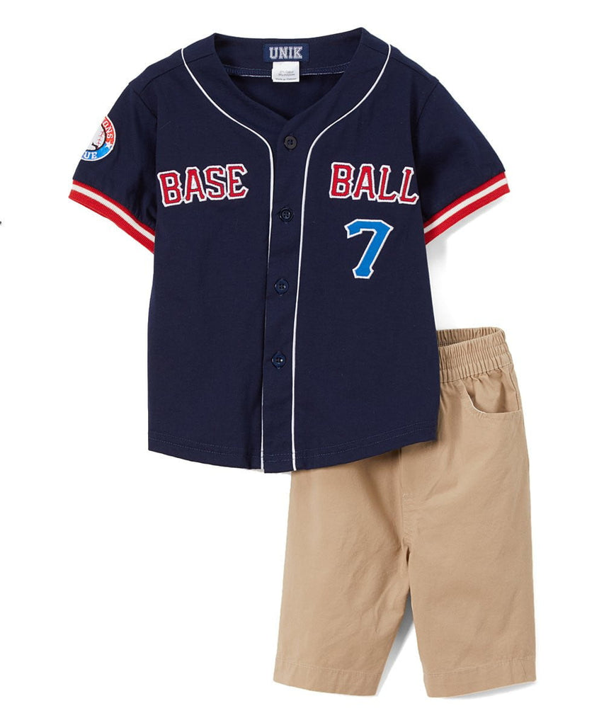 unikinc - Boy's Baseball Jersey Short Set - Unikinc