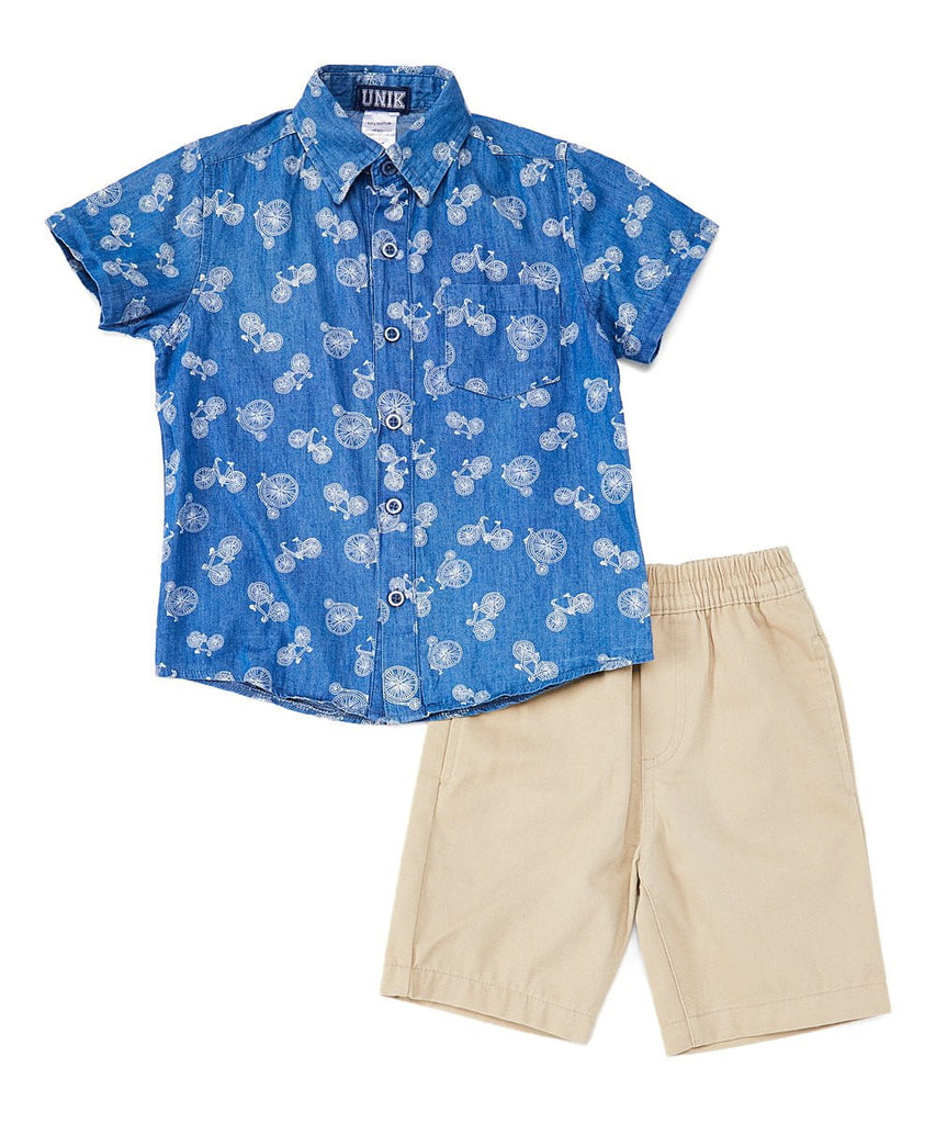 Boy Chambray Shorts Sets