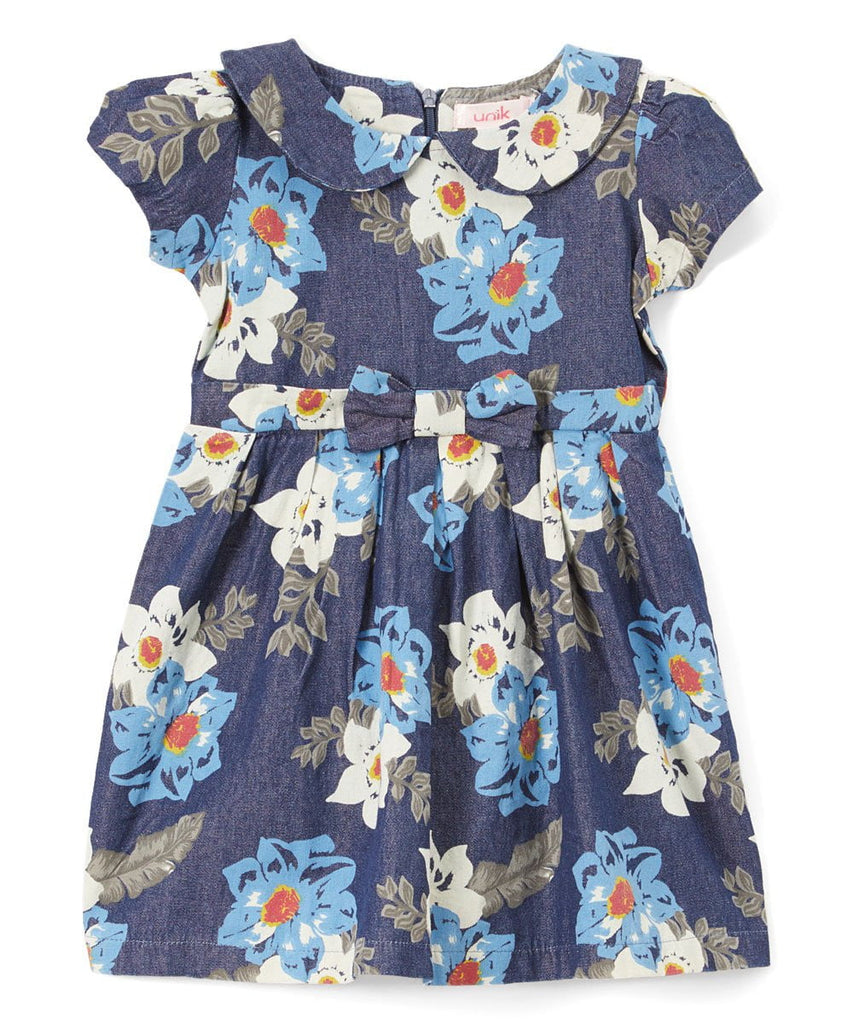 unikinc - Denim Dress with a neck bow Printed Dress - Unikinc