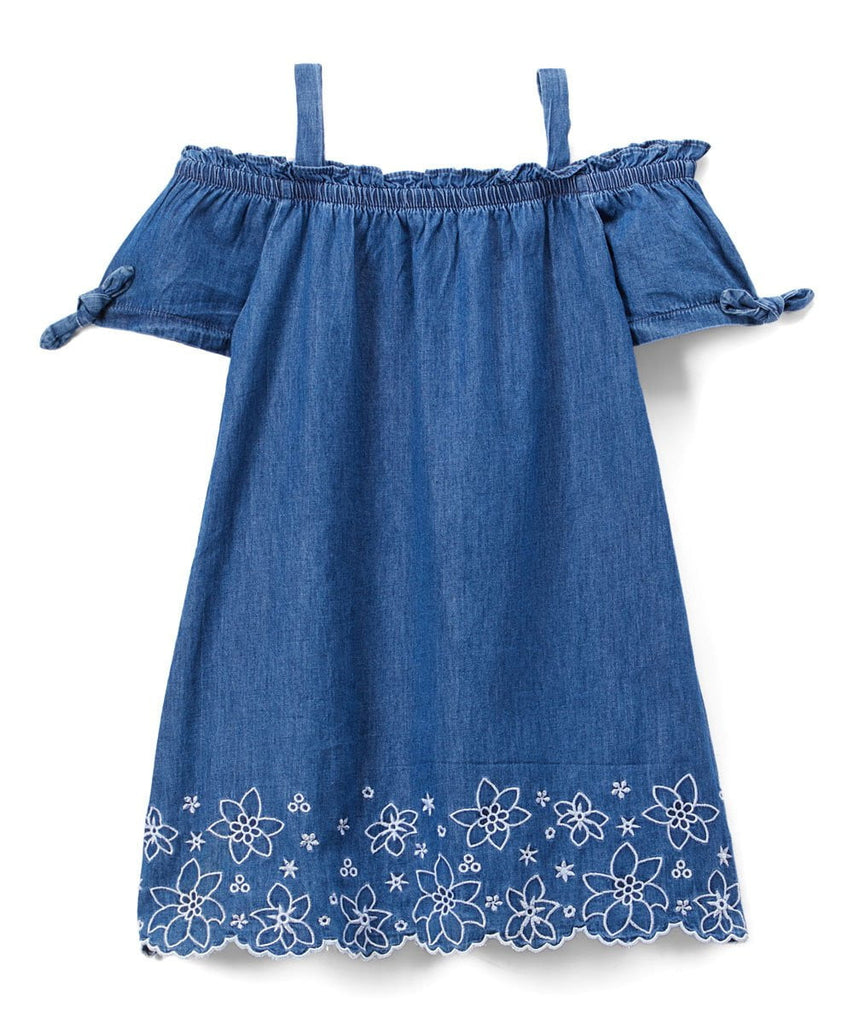 unikinc - Girl Off-Shoulder Denim Dress - Unikinc