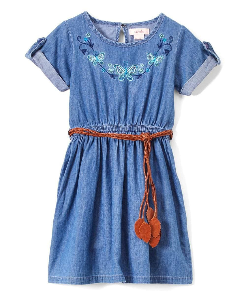 unikinc - Girl Blue Chambray Dress with Brown Leather Belt - Unikinc