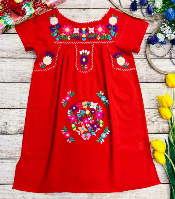 Traditional Mexican Girl Embroidered Dress