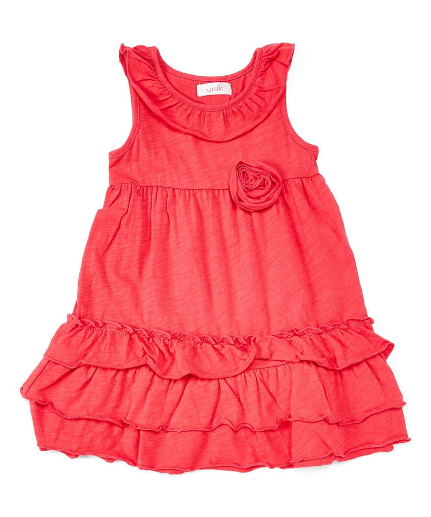 unikinc - Girl Ruffle Dress with Flower - Unikinc