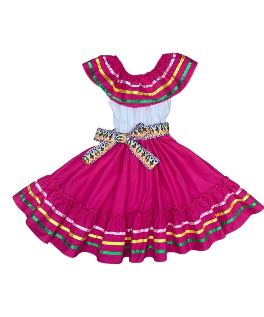 unik Girl's Fancy Traditional Mexican Cinco De Mayo Fiesta Dress Size 4-14