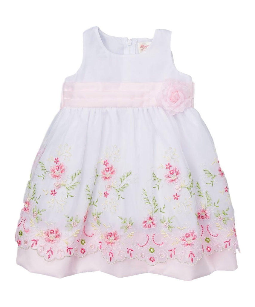 unikinc - Embroidered Party Dress with Sash and Flower - Unikinc