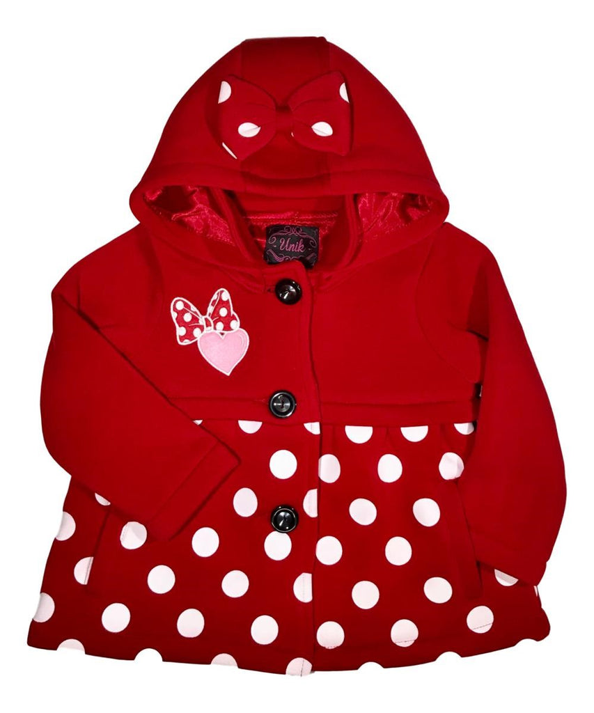 Fancy Heart Bow Polka Dot Coat