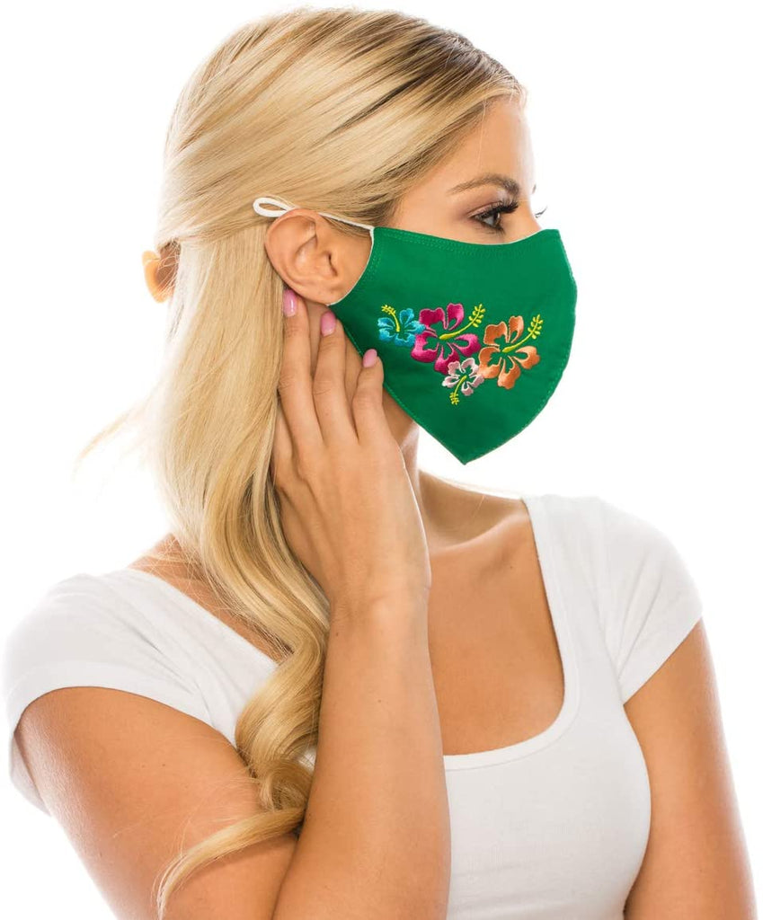 Embroidered Face Mask, GREEN  Cotton Blend, 2 layers W/Pocket for a filter, Washable, Reusable Mask, LARGER SIZING