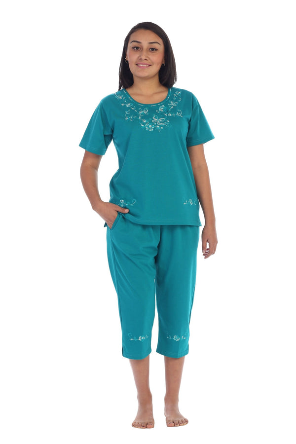 unikinc - Women's Short Sleeve Embroidered Blouse and Matching Capri Set-09 - Unikinc