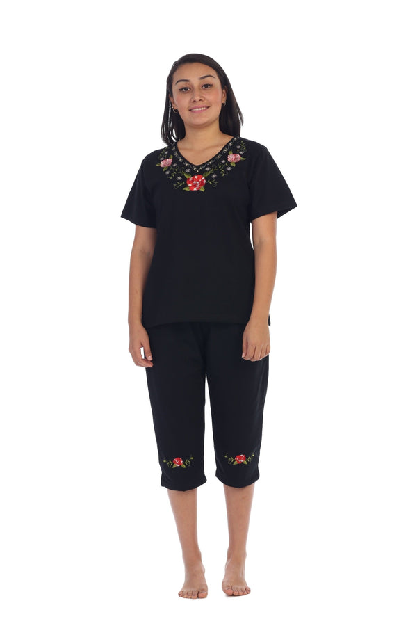 unikinc - Women's Short Sleeve Embroidered Blouse and Matching Capri Set-08 - Unikinc
