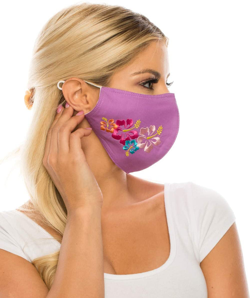 Embroidered Face Mask, LILAC  Cotton Blend, 2 layers W/Pocket for a filter, Washable, Reusable Mask, LARGER SIZING