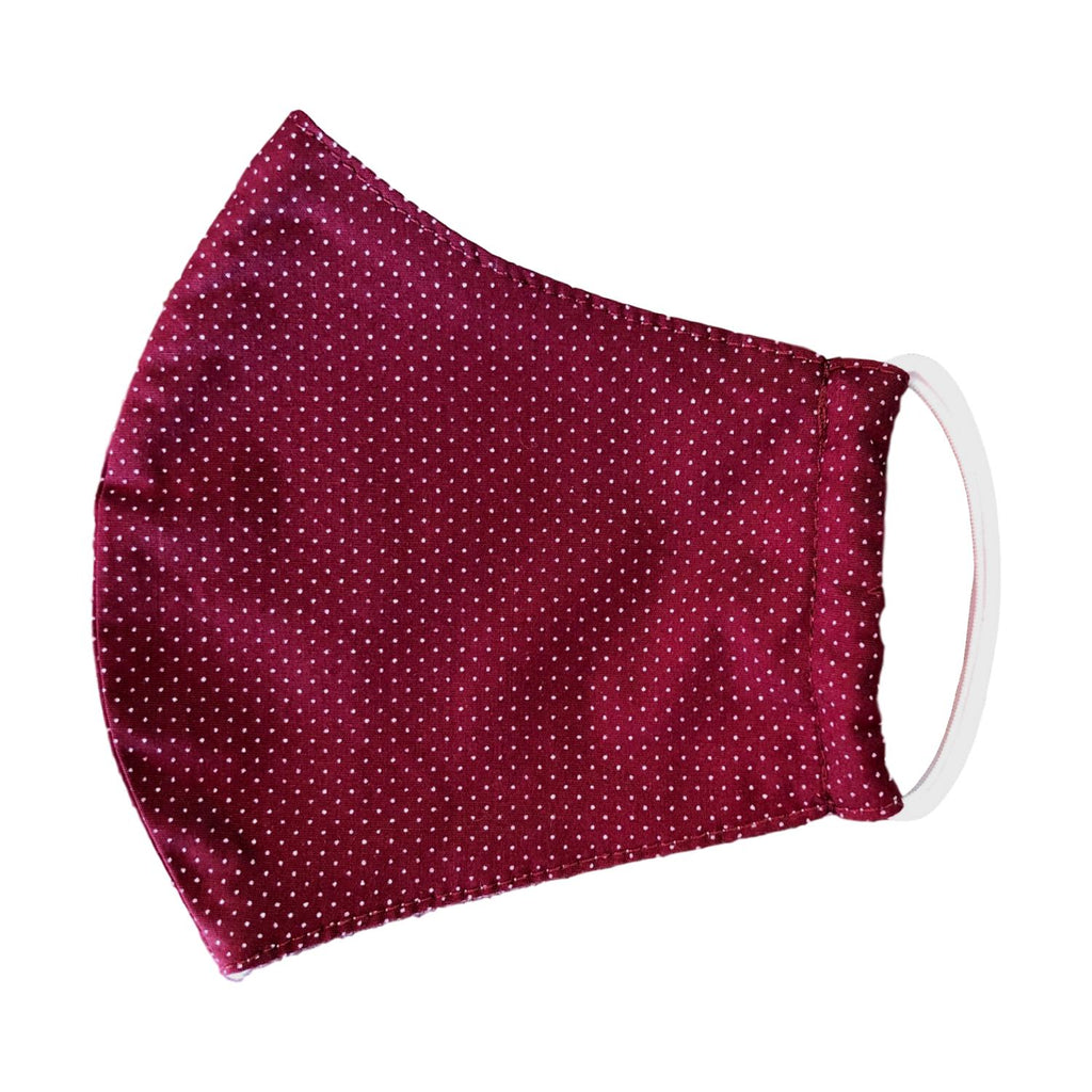 Face Mask,  Cotton Blend, 2 layers, Burgundy Dots, Washable, Reusable Mask, Adult Size
