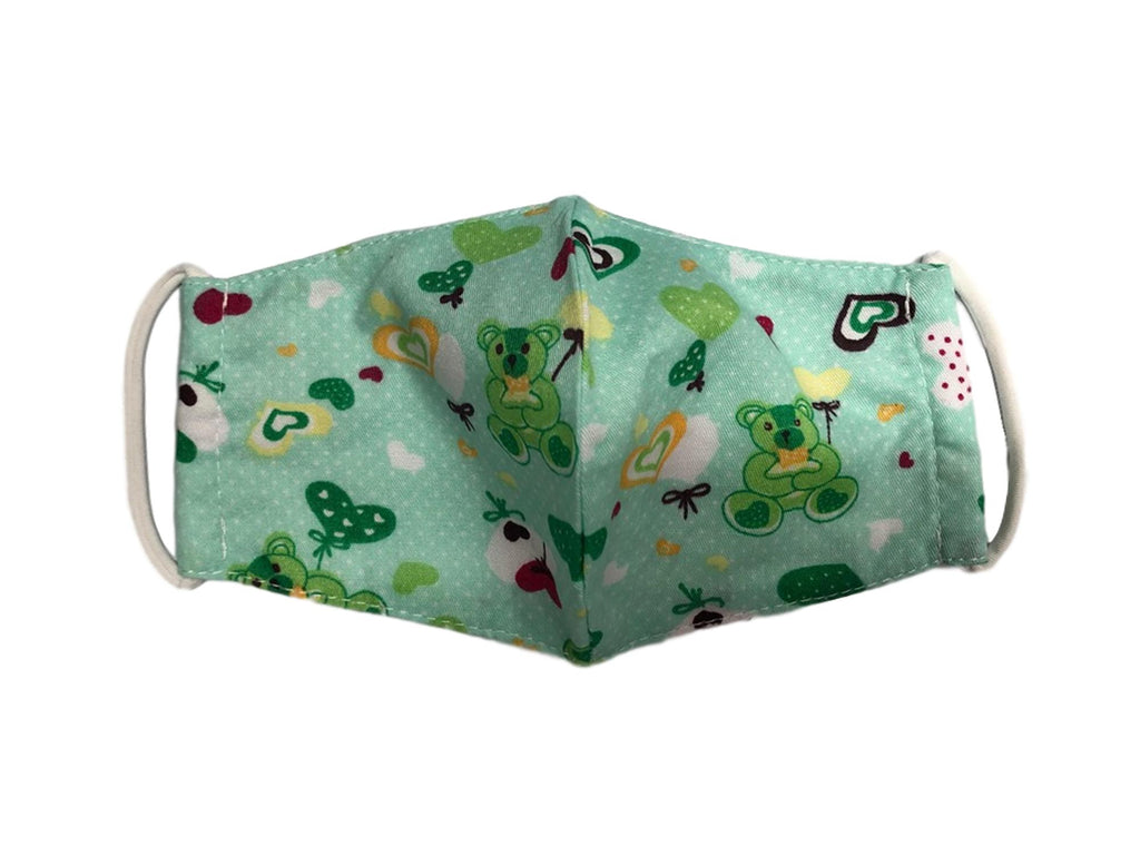 Face Mask,  Cotton Blend, 2 layers, Green Bear, Washable, Reusable Mask, Youth Size