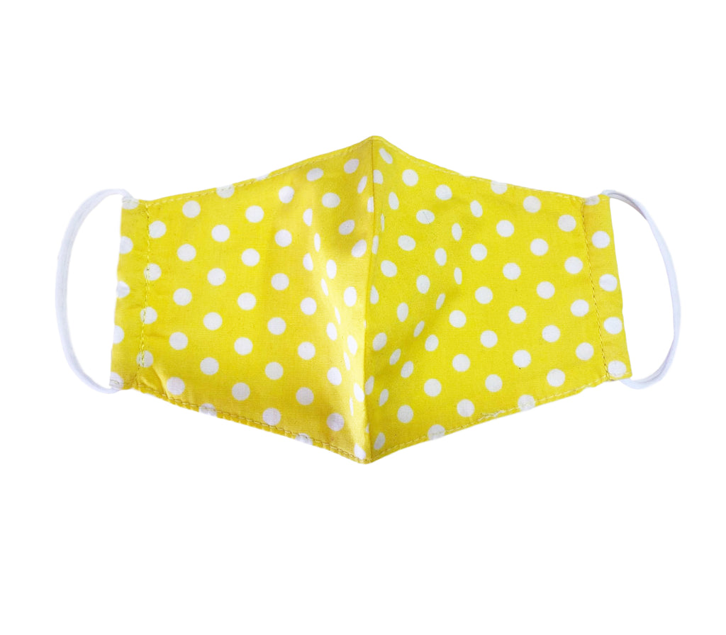 Face Mask,  Cotton Blend, 2 layers, Yellow Polka Dots, Washable, Reusable Mask, Youth Size