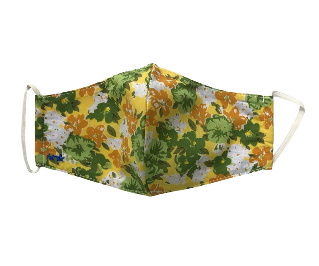 Face Mask, 100% Cotton, 2 layers, Designer Green Floral, Washable, Reusable Mask, Adult Size