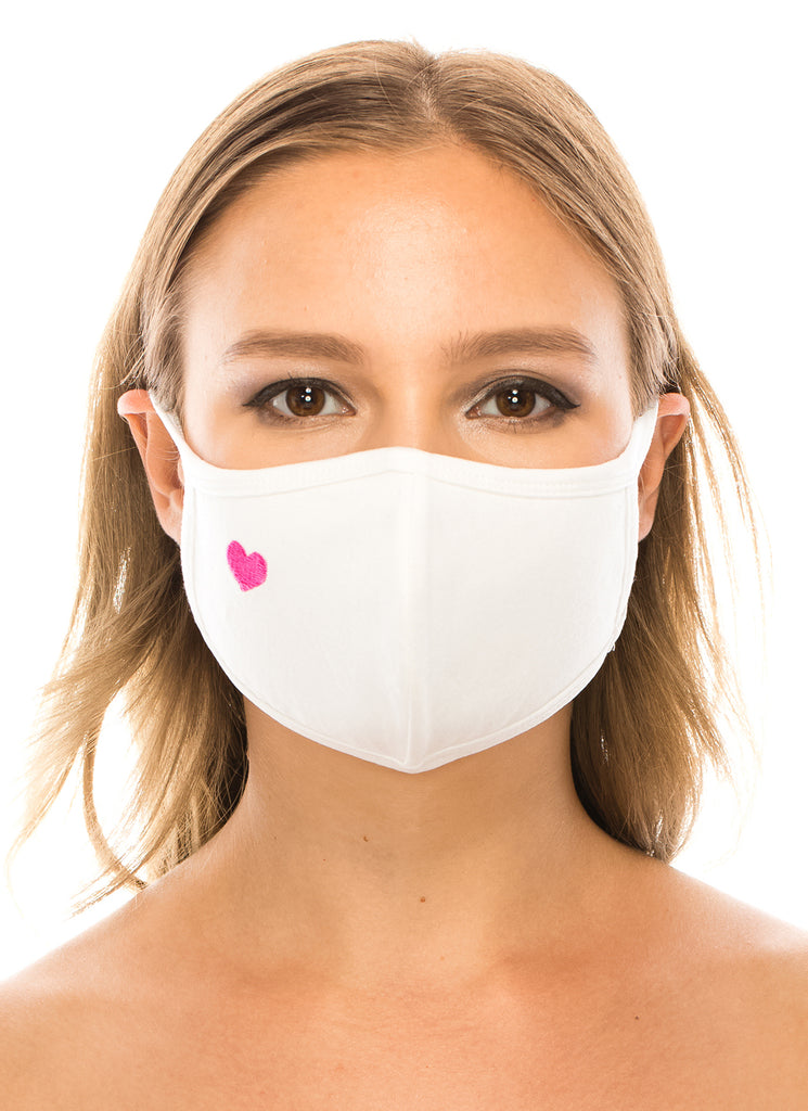 unik Face Mask, Cotton, 2 layers, Pink Heart White, Washable, Reusable Mask, Adult Size