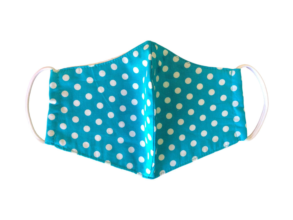Face Mask, 100% Cotton, 2 layers, 905 Aqua Polka Dot, Washable, Reusable Mask, Adult Size
