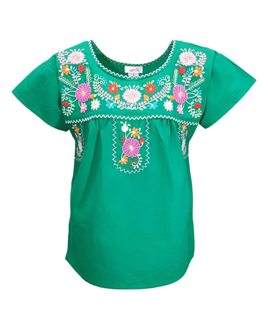 unik Traditional Puebla Mexican Youth Girl Embroidered Blouse size 4-14