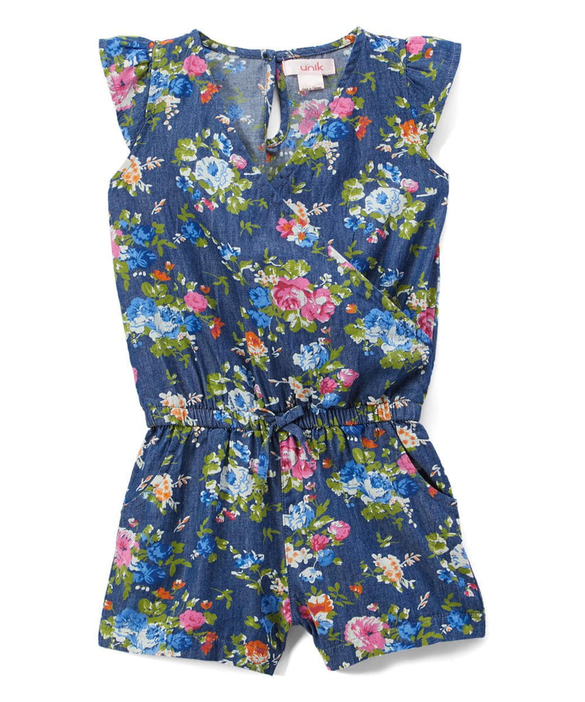 unikinc - Girl Denim Romper with Flowers - Unikinc