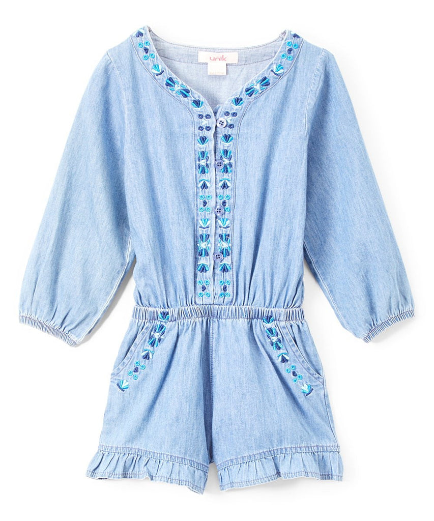unikinc - Girl Denim Romper with sleeves - Unikinc