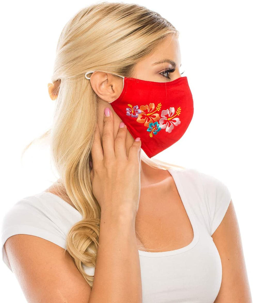 Embroidered Face Mask, RED  Cotton Blend, 2 layers W/Pocket for a filter, Washable, Reusable Mask, Adult Size