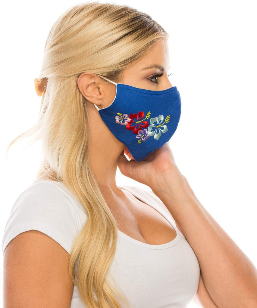 Embroidered Face Mask, Royal Blue  Cotton Blend, 2 layers W/Pocket for a filter, Washable, Reusable Mask, LARGER SIZING