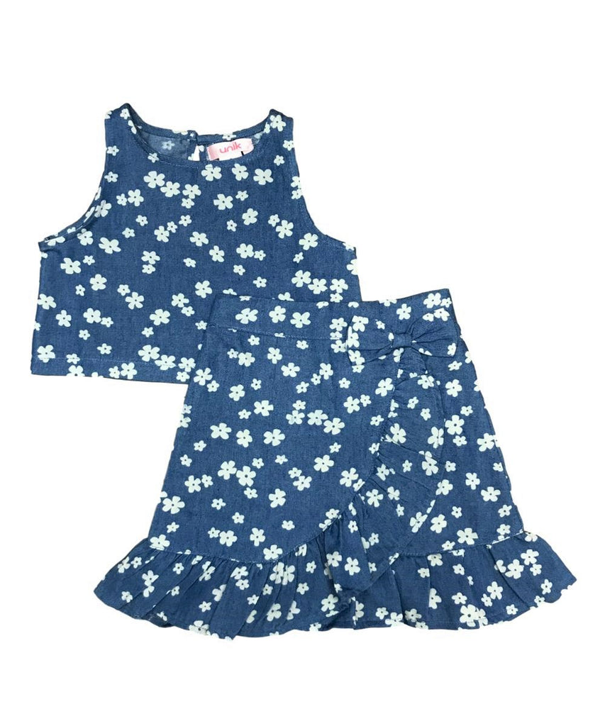 unik Girl Denim Print Skirt Set 2-14
