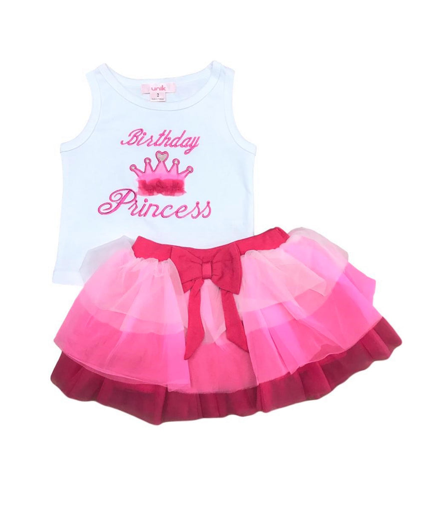 unik Girl Tulle Layered Birthday Princess Skirt Set size 2-8