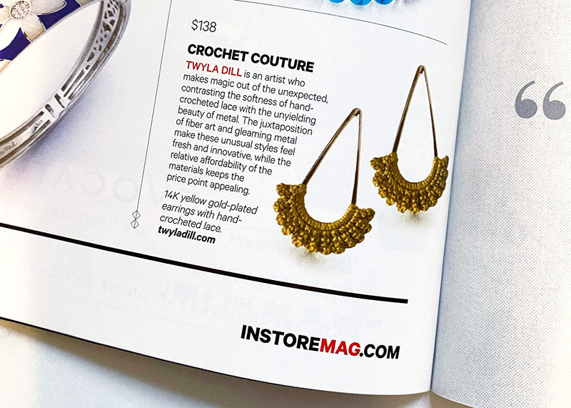 Picture of INSTORE Magazine spread featuring Twyla Dill Rain Stud Earrings