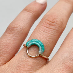 Ember Ring in Sterling Silver and Hand Dyed Sea Spray