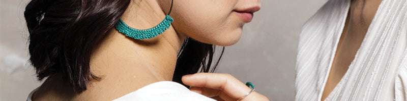 Turquoise Silver Jewelry, Geo Hoops and Baras Ring