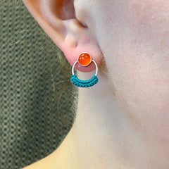 Limited Edition Stone Circle Studs in Carnelian