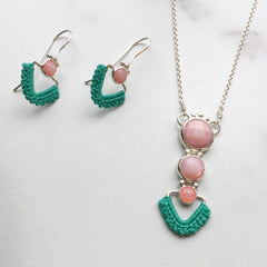 Pink Opal Point Earrings and Pink Opal Pathways Necklace