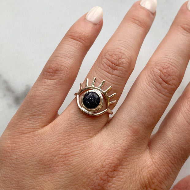 Blue Goldstone Eye Ring // One-of-a-Kind (size 6.5)-Rings-Twyla Dill-Seattle Jewelry-Handmade Jewelry-Seattle Jeweler-Twyla Dill