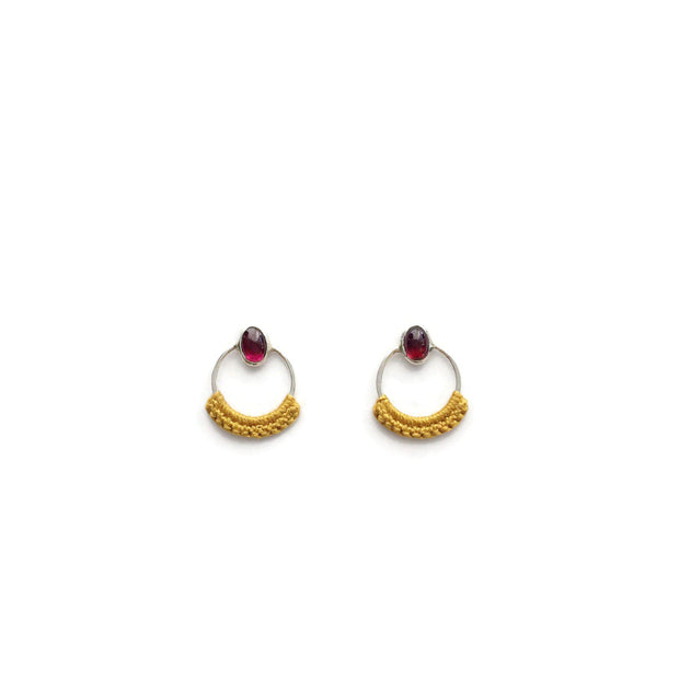 Garnet Stone Circle Studs, Silver + Mustard // One-of-a-Kind-Twyla Dill-Seattle Jewelry-Handmade Jewelry-Seattle Jeweler-Twyla Dill
