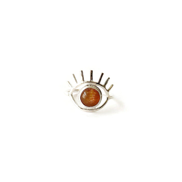 Sunstone Eye Ring // One-of-a-Kind (size 9)-Rings-Twyla Dill-Seattle Jewelry-Handmade Jewelry-Seattle Jeweler-Twyla Dill