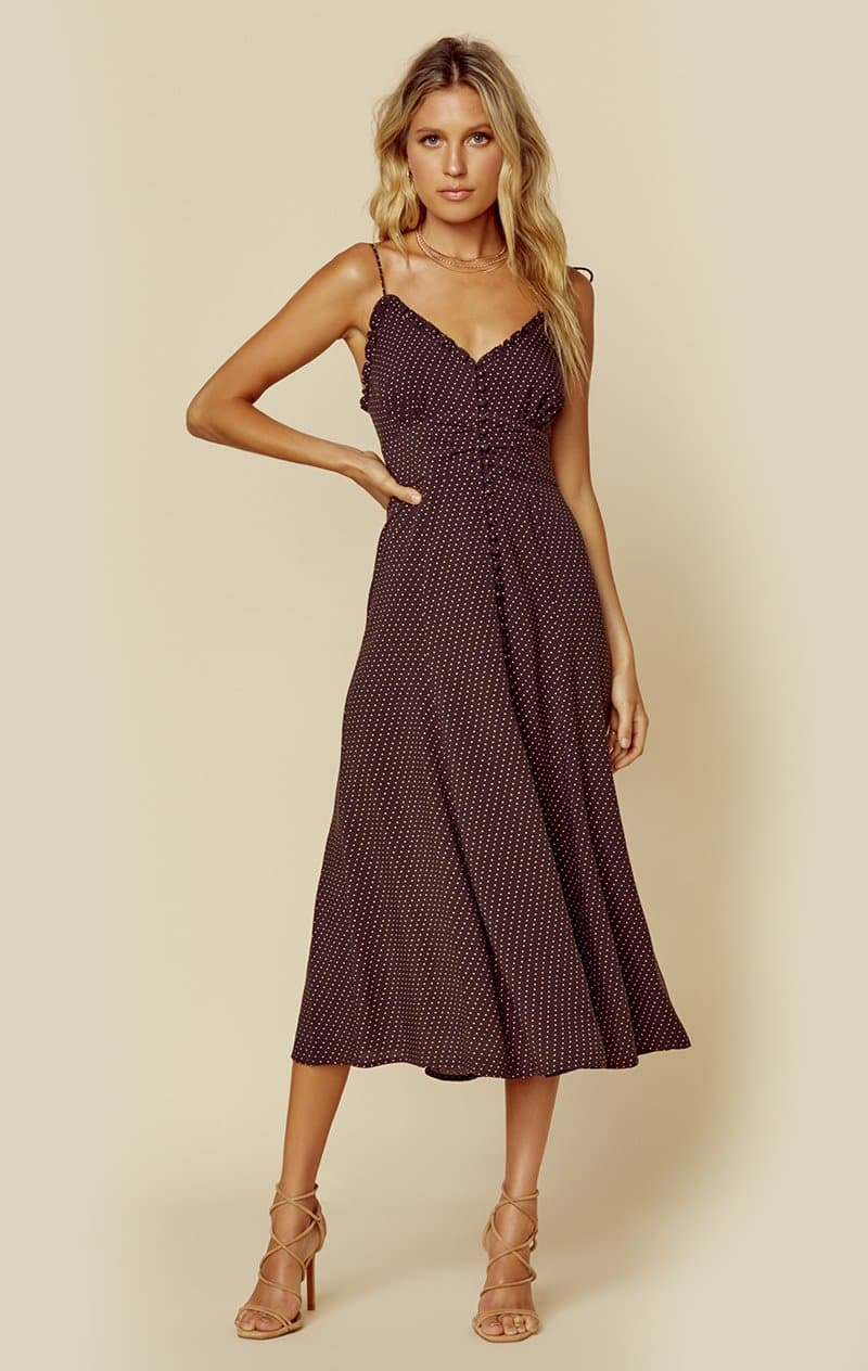 AUGUSTE THE LABEL PIPPI JULIETTE MIDI DRESS - CHARCOAL