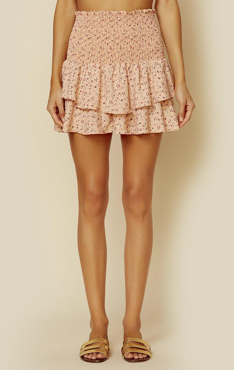 BLUE LIFE PERFECT SKIRT - PEACH MINI FLORAL