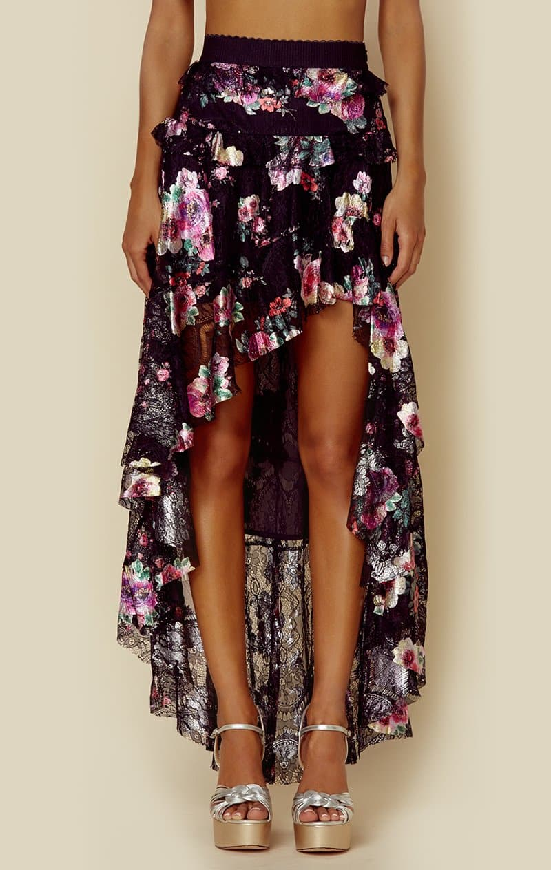 FOR LOVE AND LEMONS BENATAR TIERED RUFFLE MAXI SKIRT - FOIL FLORAL