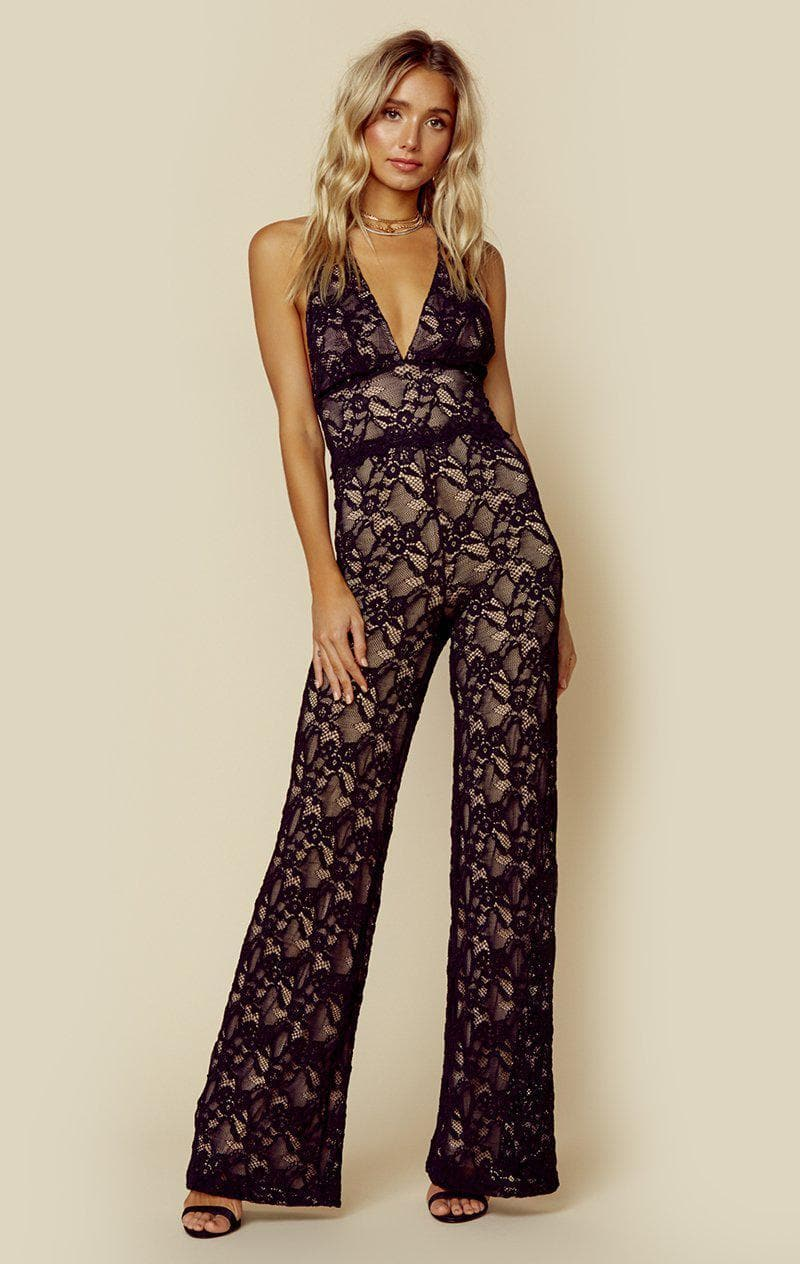 NIGHTCAP WISTERIA JUMPSUIT - BLACK