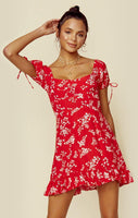 Floral Print Short Puff Sleeves Sleeves Dress With Ruffles