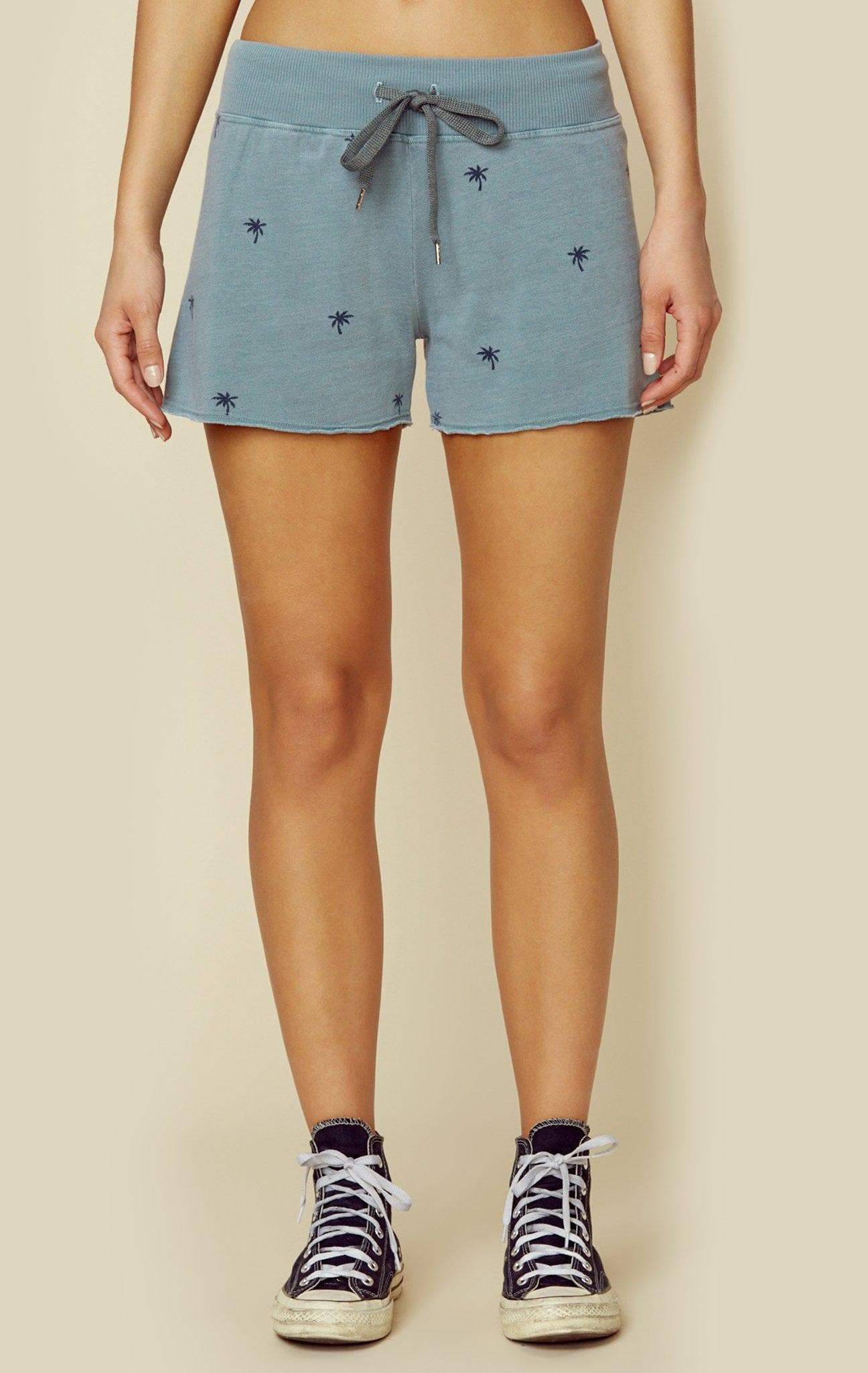 SUNDRY CUTOFF SHORTS WITH PALM TREES - PIGMENT DEW