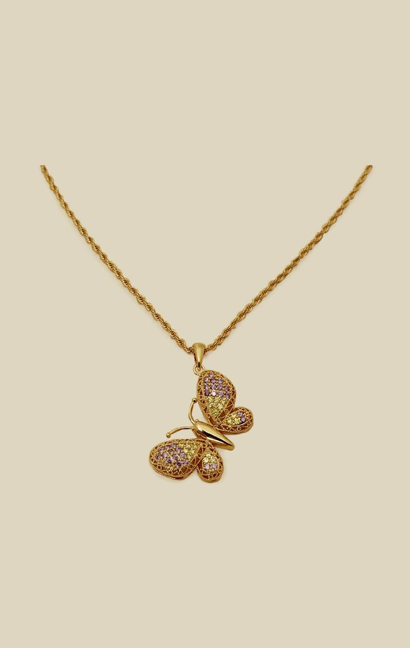 VANESSA MOONEY MARIPOSA BUTTERFLY CHARM NECKLACE - PURPLE YELLOW