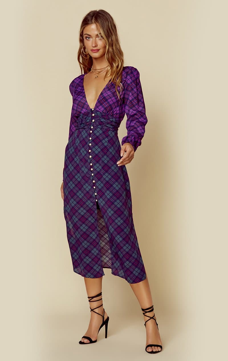 RAHI COLORBLOCK PLAID TRISTA DRESS - PURPLE/GREEN PLAID